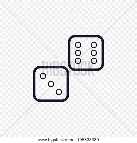 Dices line icon casino game. Cubes thin linear signs for lucky game. Outline concept for websites, infographic, mobile applications.