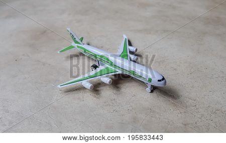 White platoon plane on cement floor, plane.