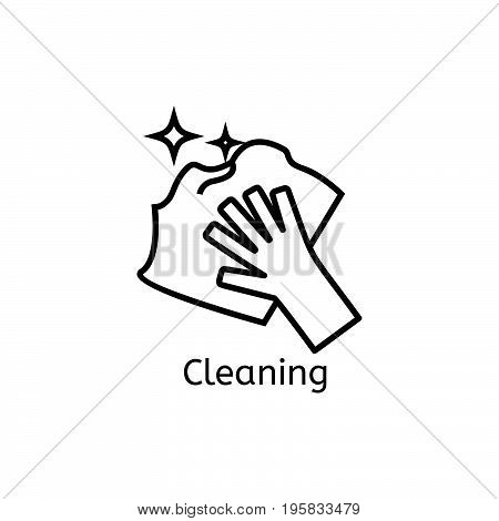 Hand holding simple line icon. Cleaning thin linear signs. Clean and shine simple concept for websites, infographic, mobile app