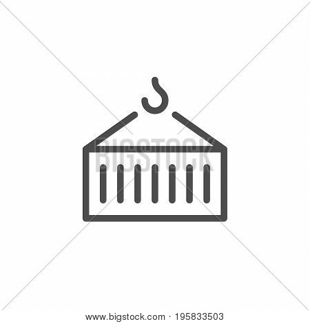 Container transportation line icon isolated on white. Vector illustration