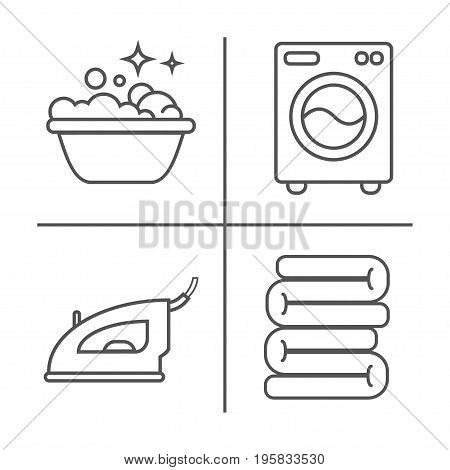 Washing, Ironing, Clean Laundry Line Icons. Washing Machine, Iron, Handwash And Other Clining Icon.