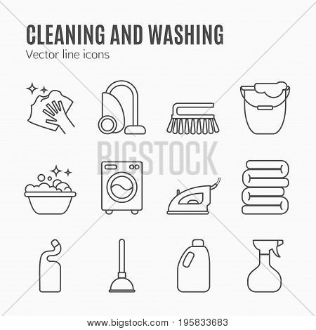 Cleaning, Wash Line Icons. Washing Machine, Sponge, Mop, Iron, Vacuum Cleaner, Shovel And Other Clin