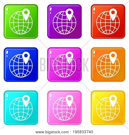 Globe with pin icons of 9 color set isolated vector illustration