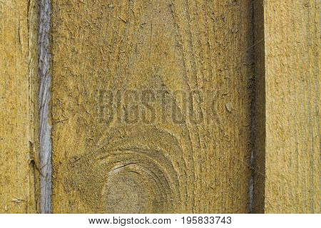 Wall from wooden houses with sawdust of yellow color