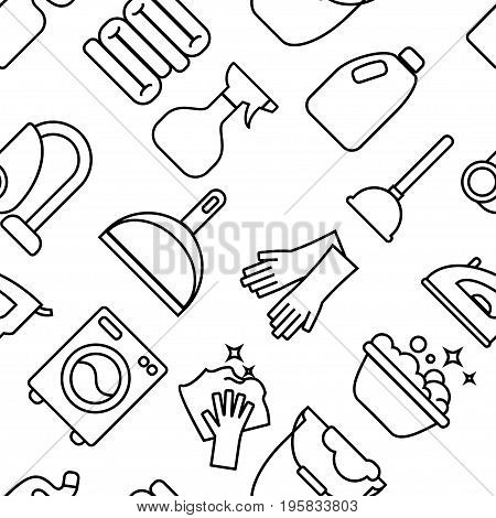 Cleaning, Wash Line Icons. Washing Machine, Sponge, Mop, Iron, Vacuum Cleaner, Shovel Clining Backgr