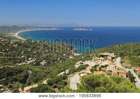Aerial view of Begur and L Estartit coast line with the extensive areal beach on the bay which limited by Medes Island in catalonia Spain