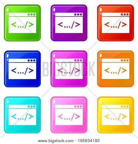 Code window icons of 9 color set isolated vector illustration