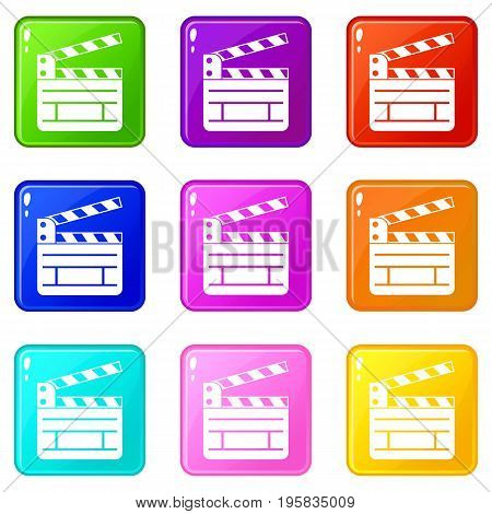 Clapperboard icons of 9 color set isolated vector illustration