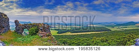 Panoramic view of the landscape from the castle ruins Oltarik/Czech Republic/