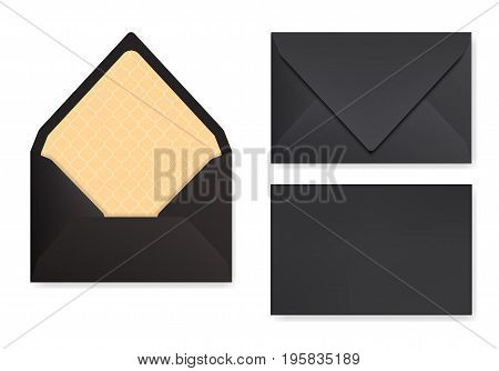Mock-up of black designed envelope. Front view closed and opened back side. Triangle flip golden textured paper inside. 3D realsitic vector illustration with transparent shadows.