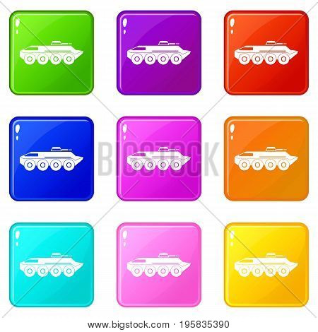 Armored personnel carrier icons of 9 color set isolated vector illustration