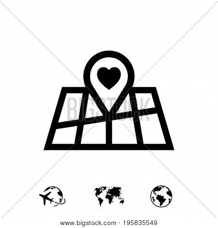 pointer pin up icon with heart stock vector illustration flat design