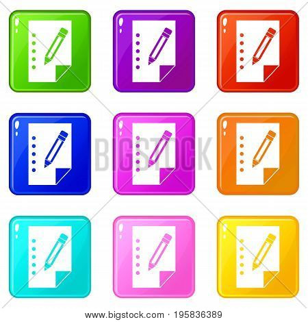 Notebook icons of 9 color set isolated vector illustration