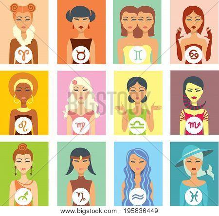 Set of twelve female portraits as a zodiac signs