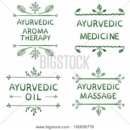 AYURVEDIC AROMETHERAPY, MEDICINE, OIL, MASSAGE. Set of typographyc VECTOR elements, hand drawn letters. Green lines on white background