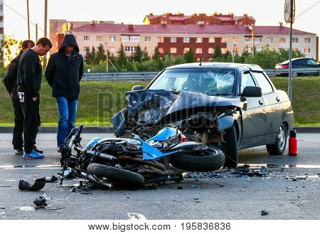 Accident With The Cyan Bike And Car