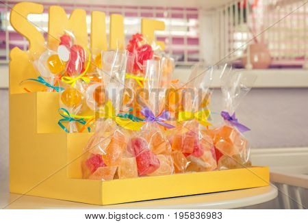 Sweets on stand at candy shop