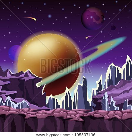 Ice rocks on cartoon planet scenery of landscape with falling comets and jupiter star with belt at sky. Relief or terrain panorama. Space and sci-fi, galaxy and cosmos, nature and universe theme