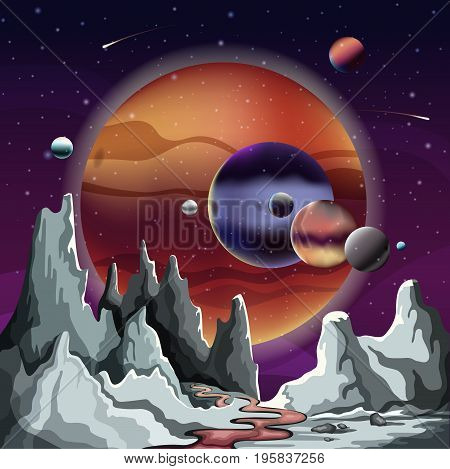 Astronomical planet panorama with rocks or mountains and river, stars and comets in sky. Alien or another cosmic planet terrain or landscape. Science or sci-fi, astronomy and satellite ground theme