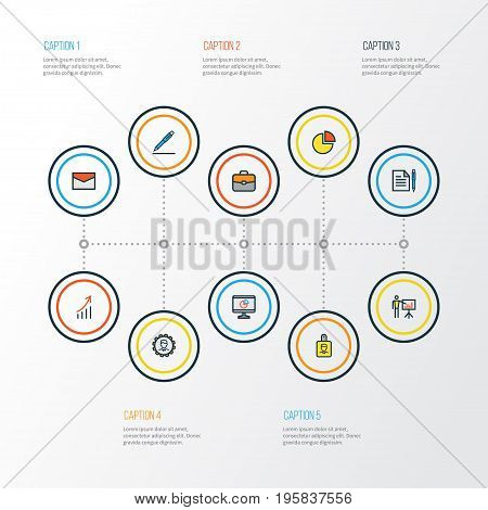 Job Colorful Outline Icons Set. Collection Of Portfolio, Agreement, Pencil And Other Elements