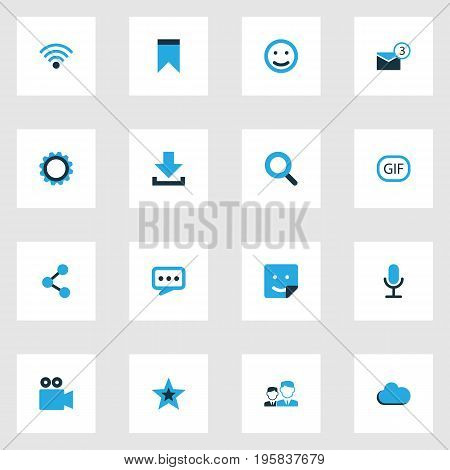 Internet Colorful Icons Set. Collection Of Cogwheel, Share, Cloud And Other Elements