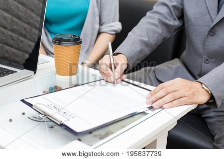 Hand Of People Sign Contact For Work At Restuarant People Interview Businessman For Working Job And