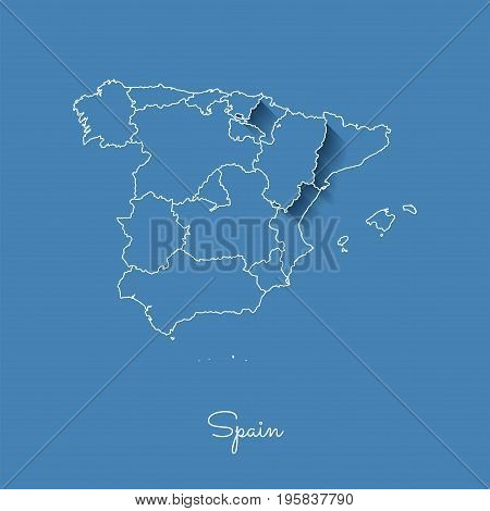 Spain Region Map: Blue With White Outline And Shadow On Blue Background. Detailed Map Of Spain Regio