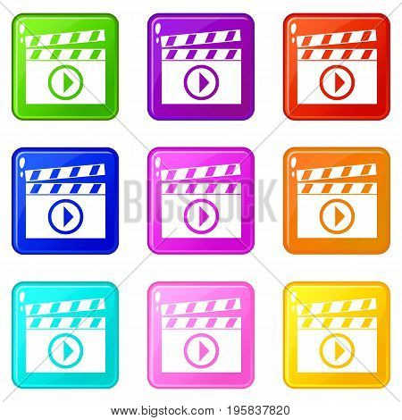 Clapperboard for movie shooting icons of 9 color set isolated vector illustration