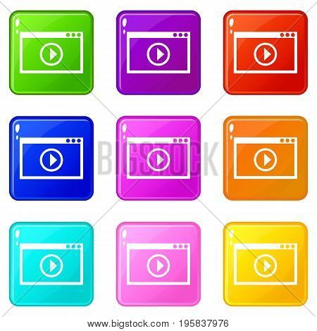 Program for video playback icons of 9 color set isolated vector illustration