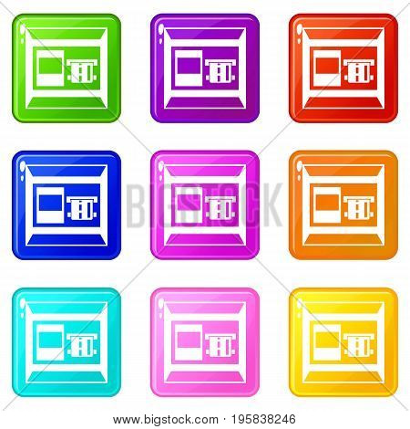 ATM icons of 9 color set isolated vector illustration