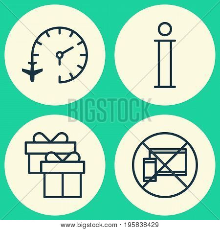 Traveling Icons Set. Collection Of Travel Clock, Forbidden Mobile, Information And Other Elements