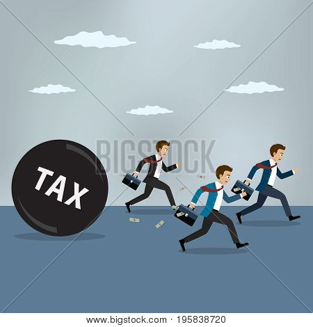 Businessmen run away from heavy tax. Business finance concept