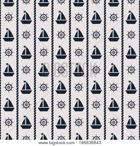 Maritime mood, Seamless nautical pattern with ship and wheels