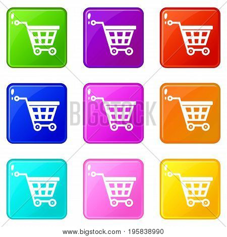 Basket on wheels icons of 9 color set isolated vector illustration