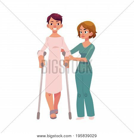 Medical rehabilitation, physiotherapist helping patient walking with crunches, cartoon vector illustration on white background. Medical rehabilitation, physical therapy, using crunches