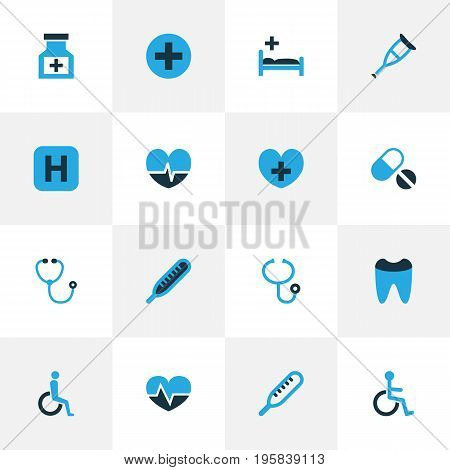 Drug Colorful Icons Set. Collection Of Heartbeat, Thermometer, Dental And Other Elements