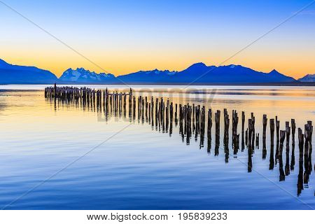 Puerto Natales in Patagonia Chile. Old Dock in Almirante Montt golf.