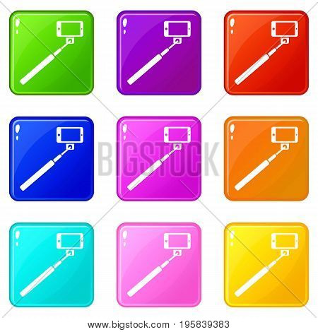 Selfie stick and smartphone icons of 9 color set isolated vector illustration