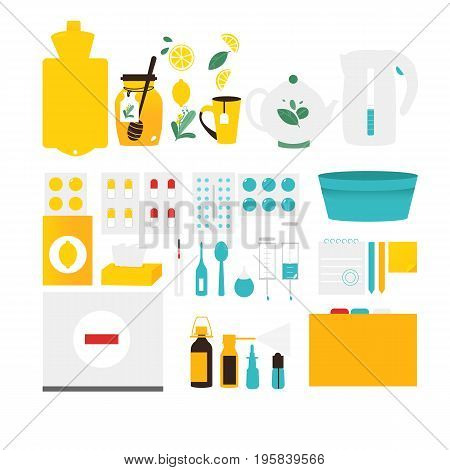 Big set of flu, cold, influenza treatment objects, elements, flat style vector illustration isolated on white background. Set of flat style flu, cold, influenza themed design elements, objects, pills