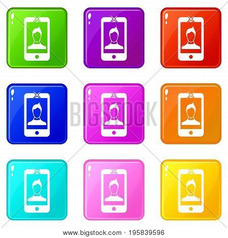 Mobile phone with photo icons of 9 color set isolated vector illustration