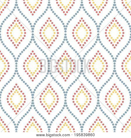 Seamless vector dotted colored ornament. Modern background. Geometric modern pattern