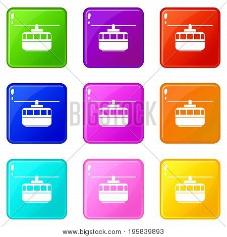 Funicular icons of 9 color set isolated vector illustration
