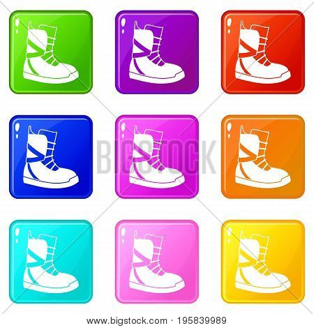 Boot for snowboarding icons of 9 color set isolated vector illustration