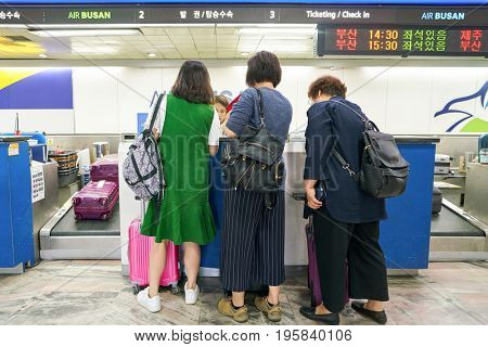 SEOUL, SOUTH KOREA - CIRCA MAY, 2017: check-in area at Gimpo Airport Domestic Terminal. Gimpo International Airport is located in the far western end of Seoul.
