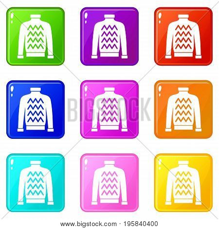 Men sweater icons of 9 color set isolated vector illustration