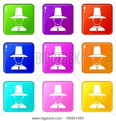 Korean soldier in historic uniform icons of 9 color set isolated vector illustration