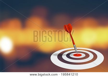 Business Marketing and Strategy Concept : Red dart hit target on dart board with abstract bokeh background. (3D Illustration)