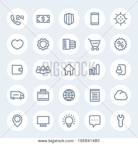 icons for web design in linear style, 25 vector pictograms on white