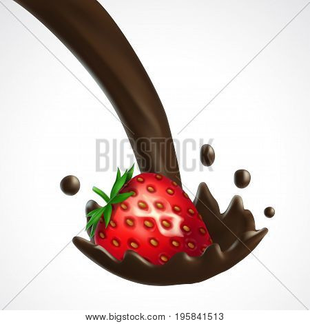 Strawberry and chocolate splash. 3d vector isolated on white background. Realistic illustration