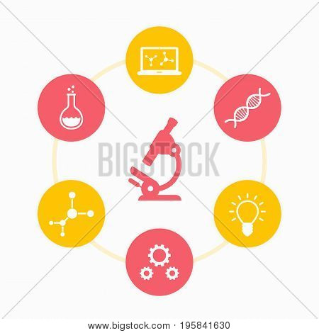 Science icons set, research, laboratory, survey, microscope, dna chain, genetics, lab glass, molecule